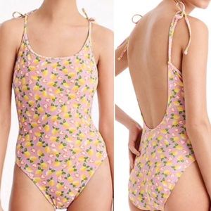 J. Crew NWT Lemon Print One Piece Swimsuit Size 10
